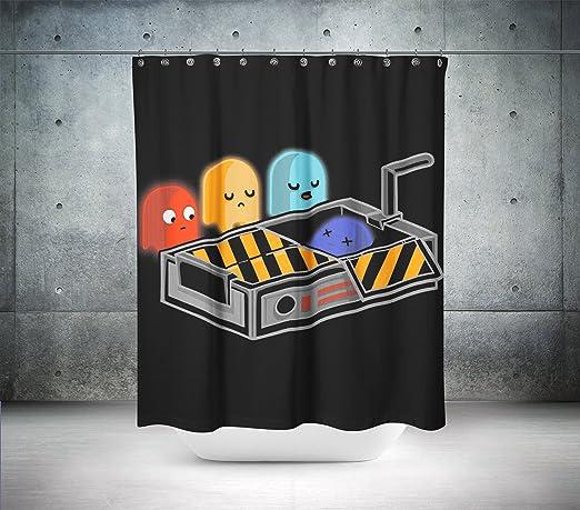 Retro Pac Man cortina de ducha/cortina de baño, 100% poliéster ...