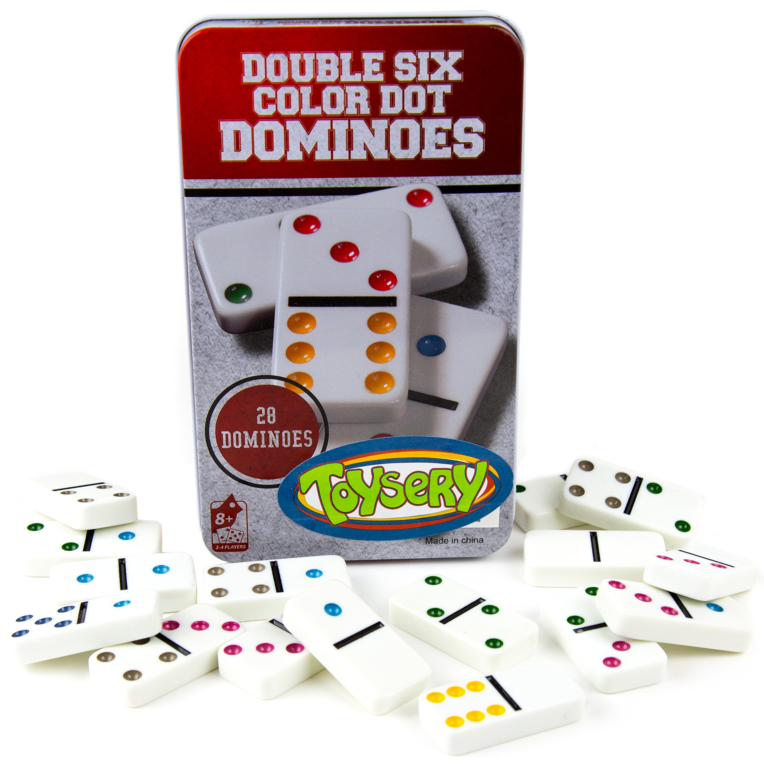 Toysery Double 6 Color Dot Dominoes Game Set - White Dominoes 28 Piece Set Toy in Tin Case - Six Dot Dominoes Match & Educational Game by Toysery
