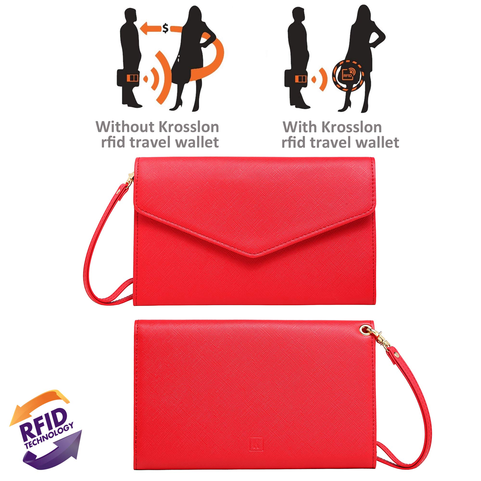 Krosslon Travel Passport Wallet for Women Rfid Wristlet Slim Family Document Holder, 11# Agate Red by KROSSLON (Image #3)