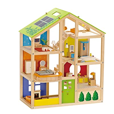 All Seasons Kids Wooden Dollhouse by Hape | Award Winning 3 Story Dolls House Toy with Furniture, Accessories, Movable Stairs and Reversible Season Theme: Toys & Games
