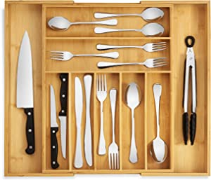 RMR Home Bamboo Silverware Drawer Organizer - Expandable Kitchen Drawer Organizer and Utensil Organizer, Perfect Size Cutlery Tray with Drawer Dividers for Kitchen Utensils and Flatware