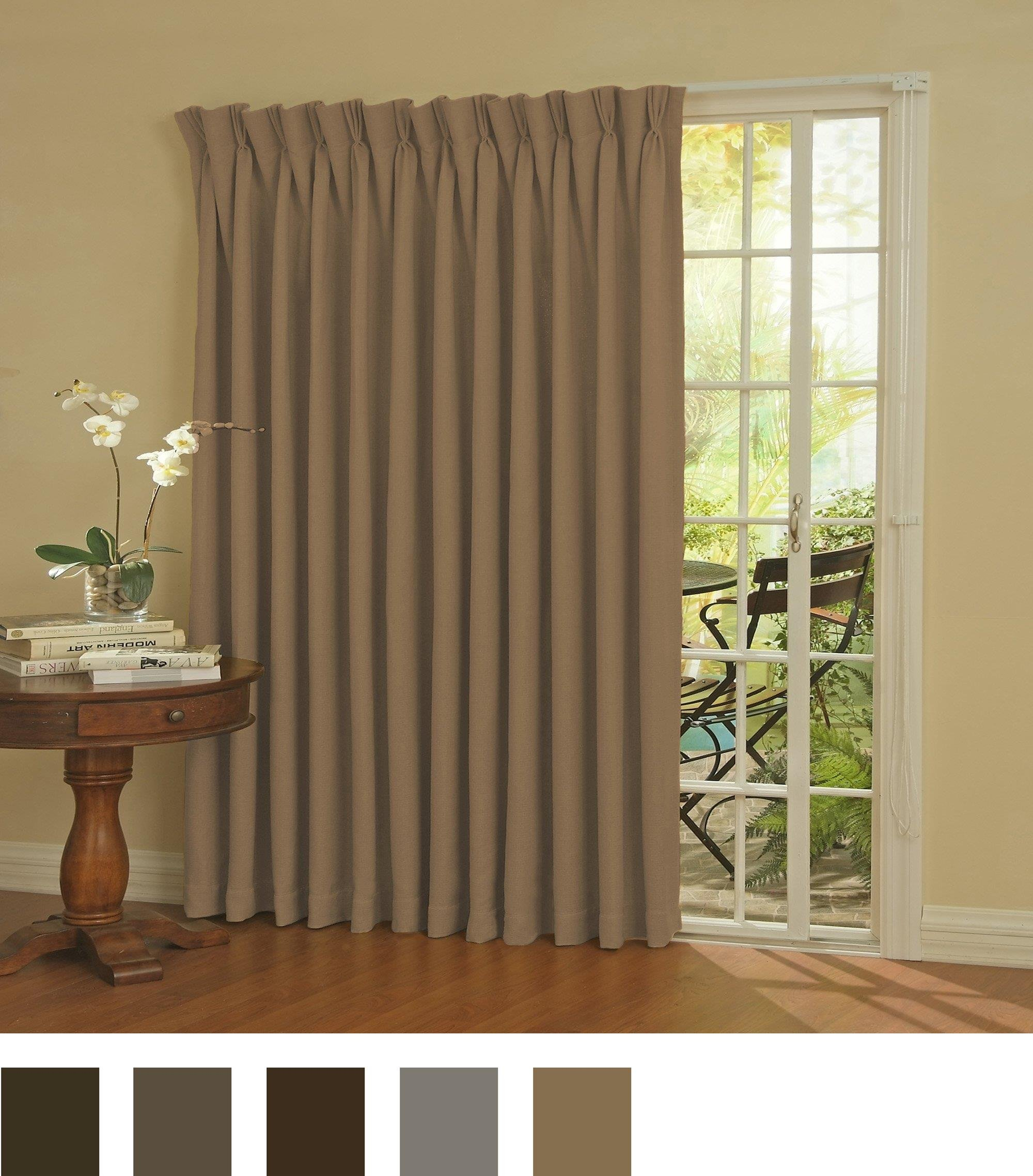 eclipse thermal blackout patio door curtain panel 100 39 39 x 84 39 39 wheat 689550535646 ebay. Black Bedroom Furniture Sets. Home Design Ideas