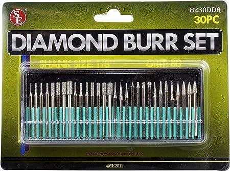 "NEW 30pc Diamond Burr Set 1//8/"" Shank 600 Grit Rotary Type US FAST FREE SHIPPING"