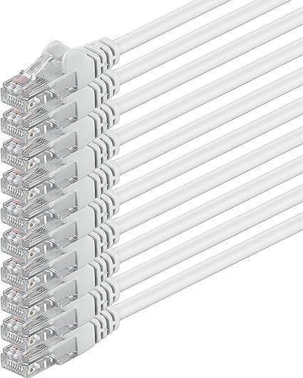 3m - Blanco - 10 Piezas - Cable de Red Ethernet con Conectores RJ45 CAT6 Cat 6 Cat.6 1000 Mbit/s