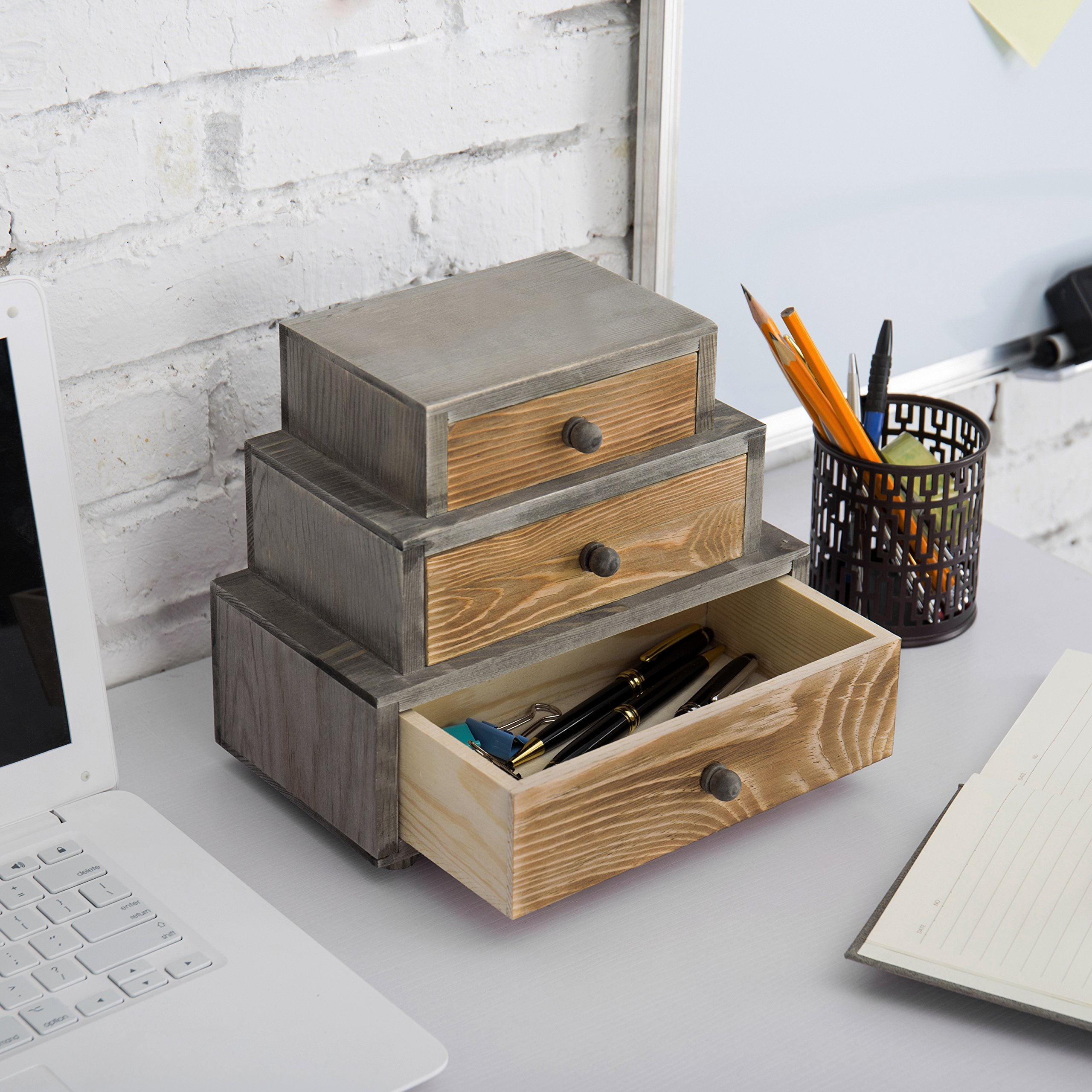 MyGift 3-Drawer Rustic Wood Office Storage Organizer by MyGift (Image #5)