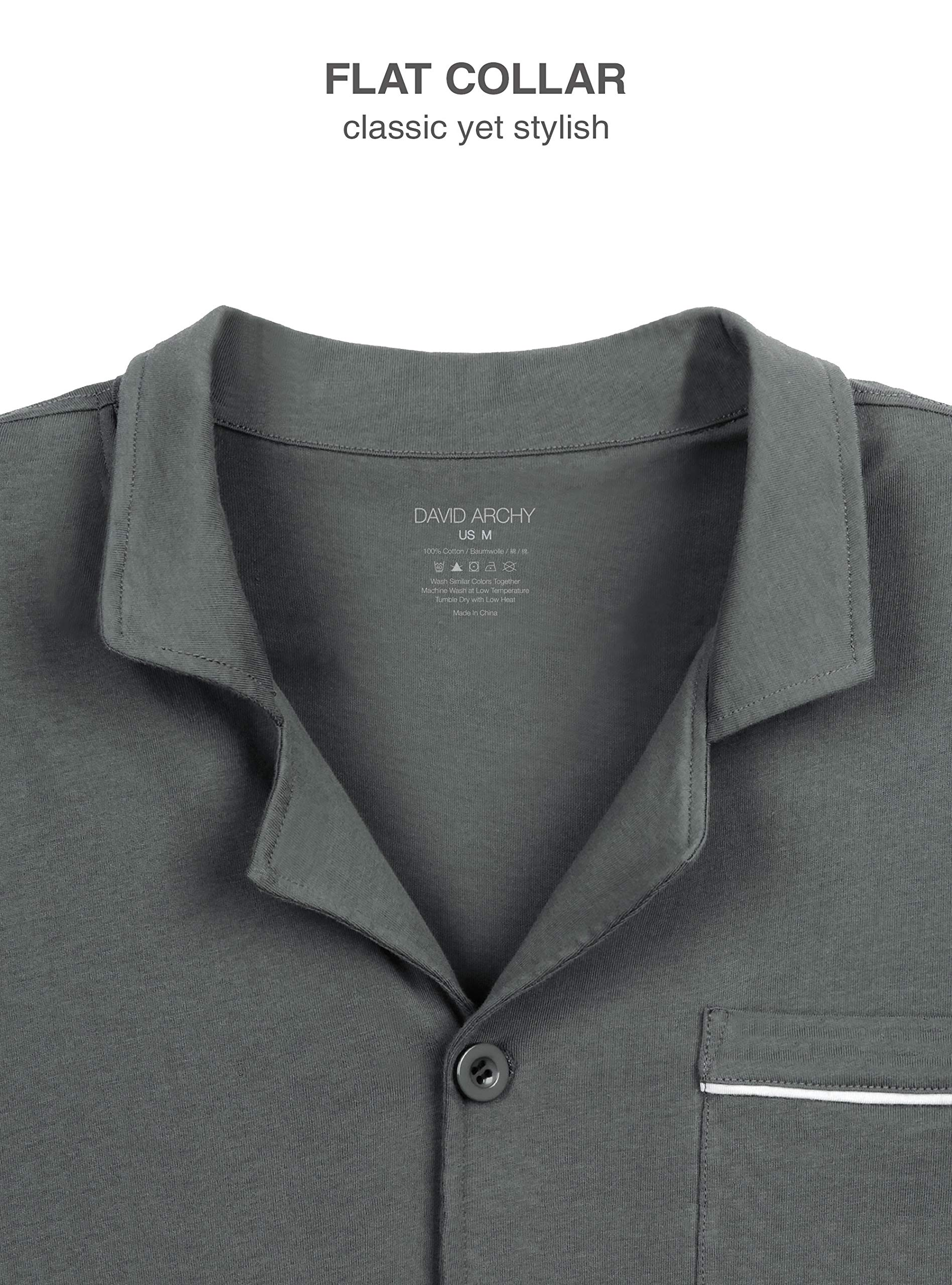 David Archy Men's 100% Cotton Long Button-Down Sleepwear Pajama Set (M, Dark Gray) by David Archy (Image #4)