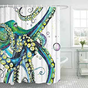 Bathroom Shower Curtain Colorful Fashion Octopus Shower Curtains Durable Fabric Bath Curtain Waterproof Bathroom Curtain with 12 Hooks