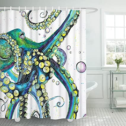 Amazon Modern Timesm Octopus Shower Curtain With 12 Hooks Sea