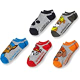 PAW Patrol Boys' Little 5 Pack No Show, Grey Assorted, Fits Sock Size 6-8.5; Fits Shoe Size 7.5-3.5