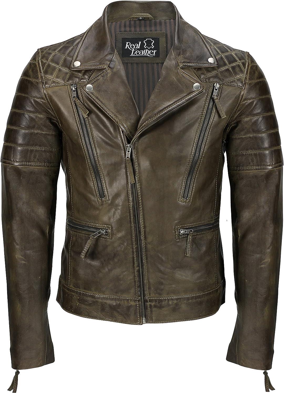 Chaqueta de piel auténtica para hombre, color negro, estilo vintage de motociclista con cremallera, estilo retro, informal, para hombre