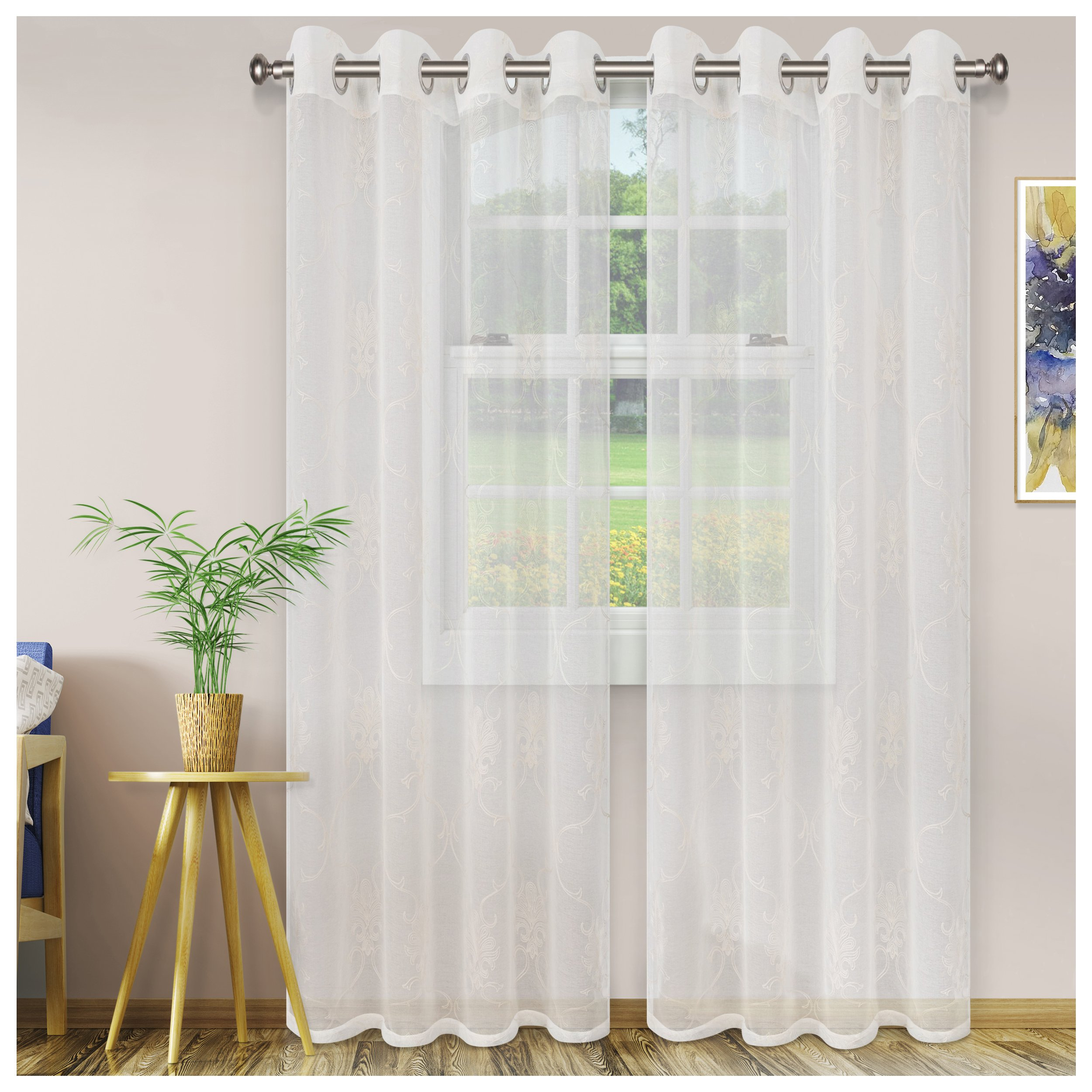 Superior Quality Lightweight Embroidered Elegant Scroll Sheer Stainless Grommets Window Treatment Curtain Panel (Set of 2) 52'' x 108'' - Ivory by Superior