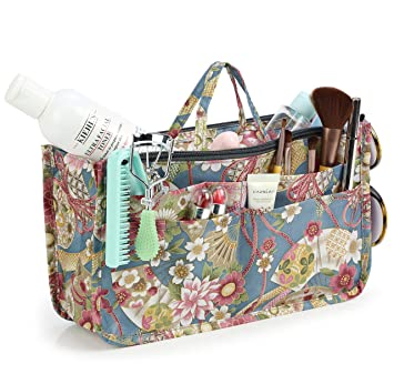 9b75a0aa88d4 Cosmetic Bag for Women Cute Printing 14 Pockets Expandable Makeup Organizer  Purse with...