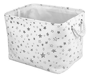 Medium Eco Friendly Canvas Toy Storage Baskets Storage Bins Nursery Bins  With Handles (White