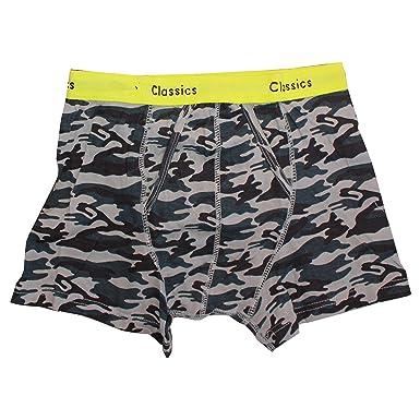 3 Mens Classic Sports Cotton Boxer Shorts Trunks Underwear Camo Waistband