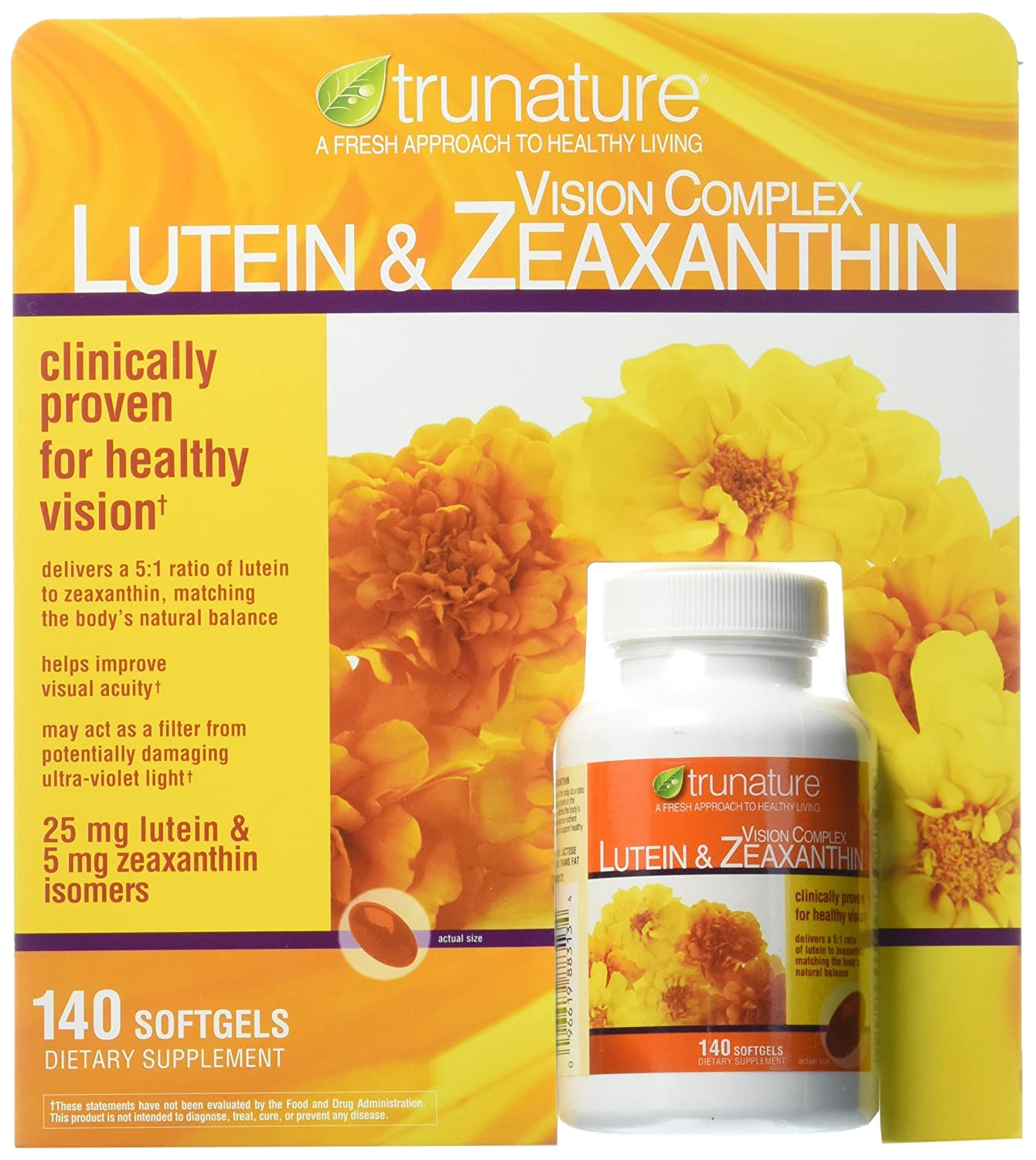 Amazon Trunature Vision Softgels Complex Lutein And Zeaxanthin Supplement 140 Count Health Personal Care