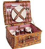 Cestino da picnic completo di articoli per la tavola in porcellana 2 persone cesto di vimini cestino da picnic in salice cestino da picnic in legno di vimini (rosso)