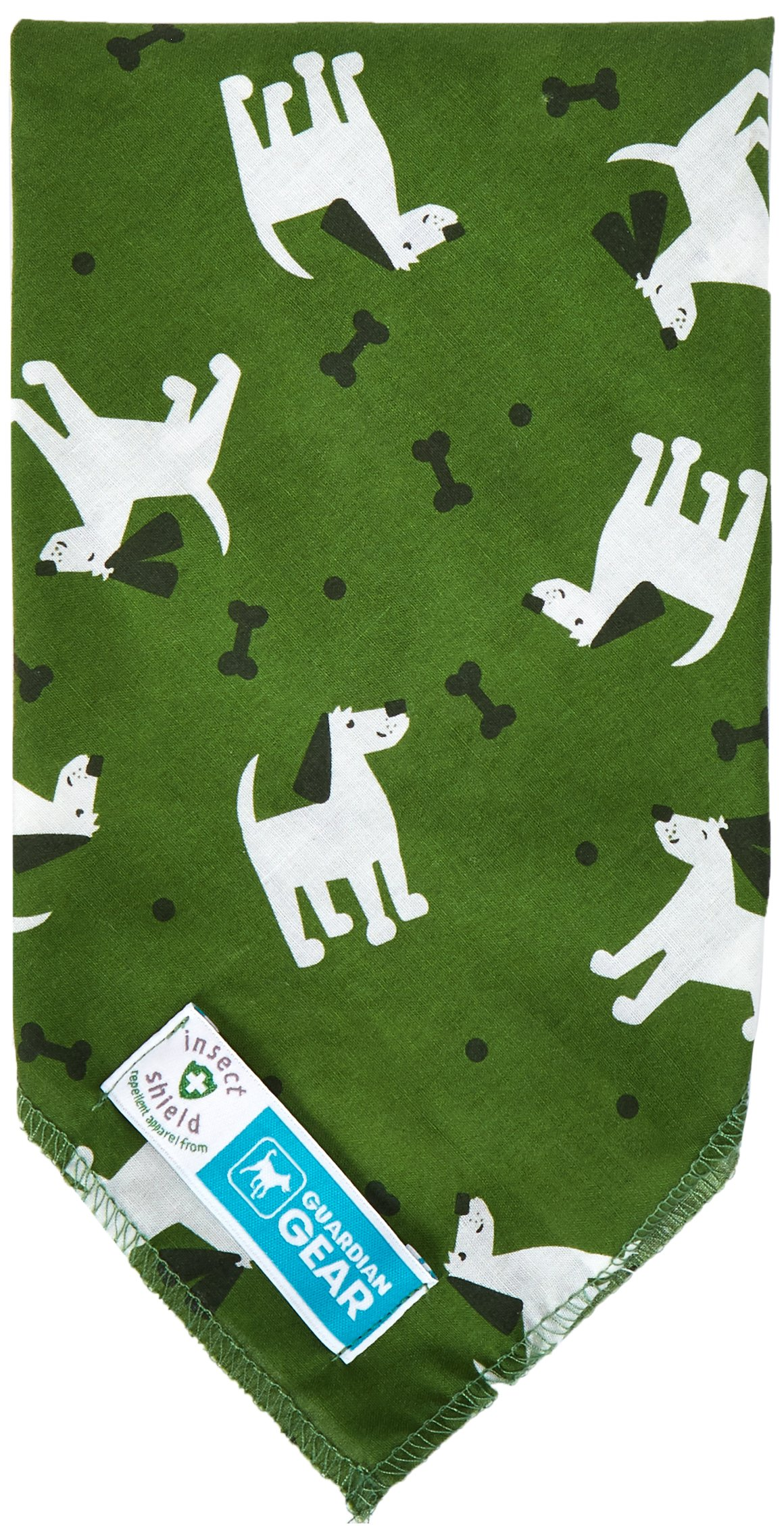 Guardian Gear Insect Shield Dogs and Bones Bandana, Green