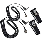 Assurance Designed Black Grounding Wrist Strap 2 Pack. Use for Earth Connection & EMF Radiation Protection - Use for Desk, Floor, Bed, Pillow or Yoga