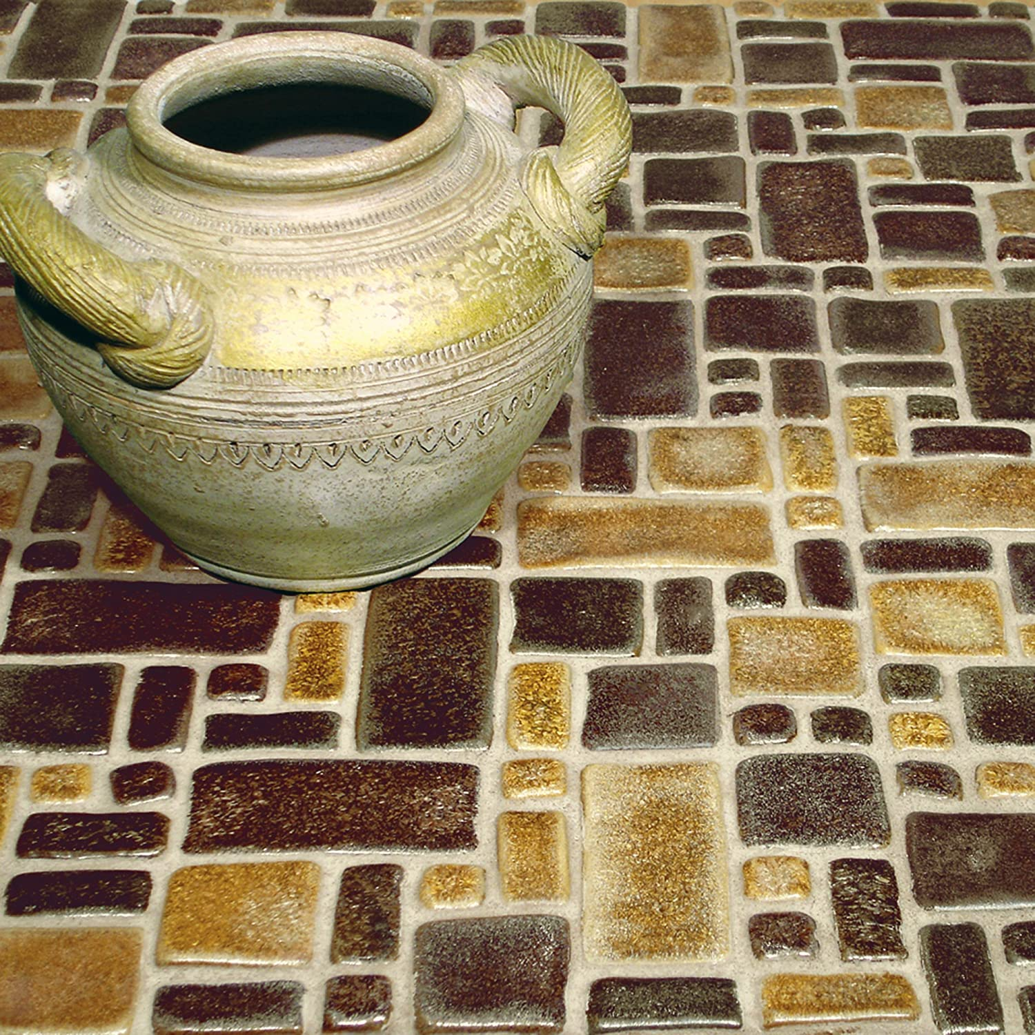 12 x 12 Beige//Tan//Cream//Brown SomerTile FDXKDC1 Heritage Goldstone Glazed Ceramic Mosaic Floor and Wall Tile