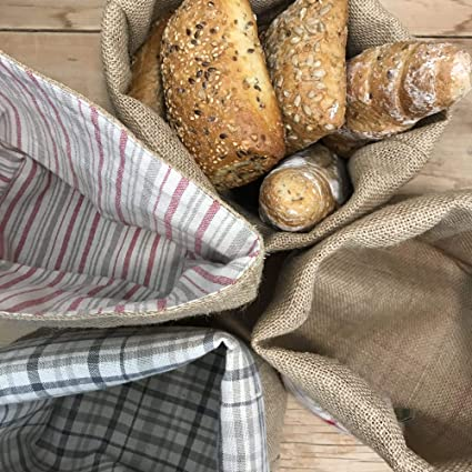 28 x 20 x 10 cm Designtasche in hochwertiger Verarbeitung aus Naturfasern grau Gaidra Stoff-Brotkorb aus Jute und Baumwollgewebe Gestreift