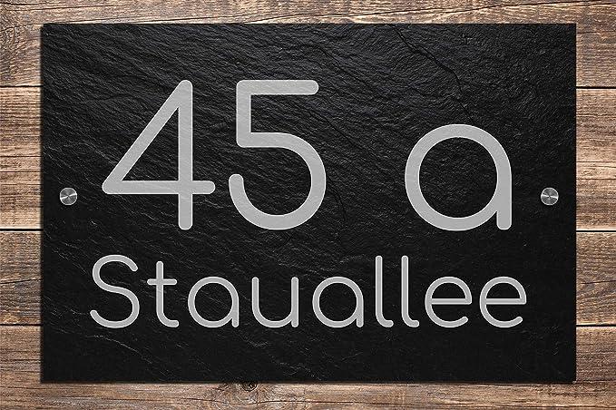 Schiefer Hausnummer /& Stra/ße Namen 30x20 cm Wunsch-Gravur Namensschild Schild