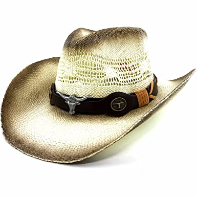Western Peak Straw Gaucho Cowboy Ranch Hat with Silver and Old Gold ... bdfe587d08d