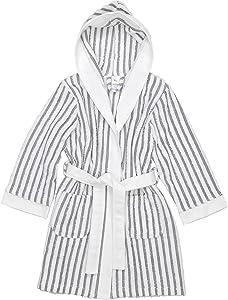 Linum Home Textiles Terry Stripe Hooded Unisex Bathrobe, White/Black