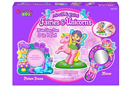 Fairies /& Unicorns Mould and Paint Fridge Magnet Making Kit Childrens Craft Kits