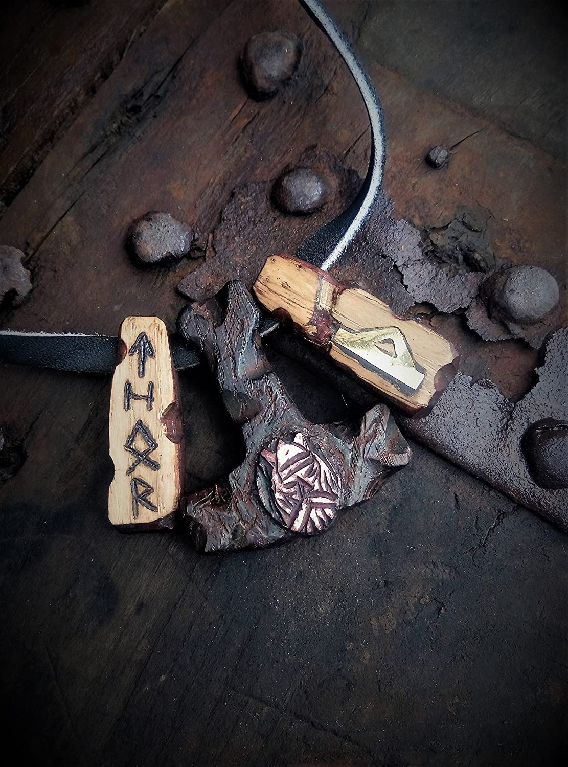 Thor's Hammer Mjolnir Pendant with Rune Thurisaz wooden pendant with bronze and elk horn