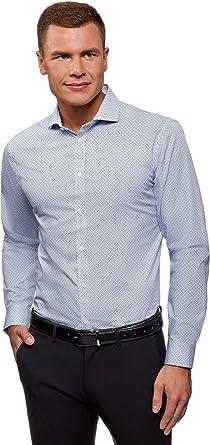 oodji Ultra Hombre Camisa Entallada de Algodón