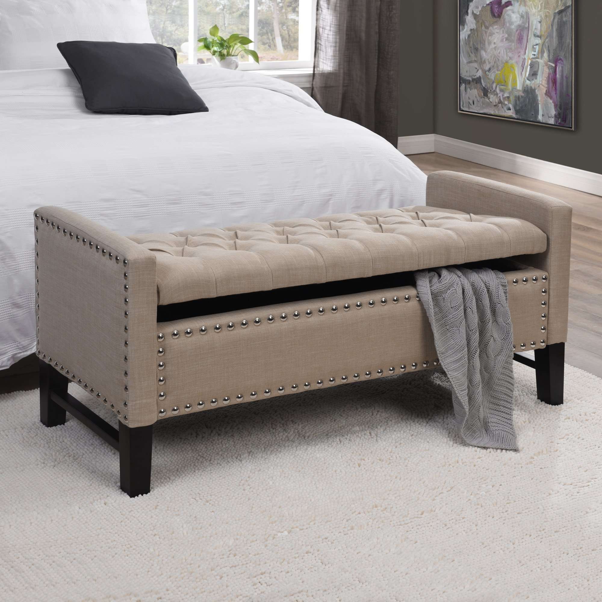 Inspired Home Columbus Linen Modern Contemporary Button Tufted with Silver Nail Head Trim Multi Position Storage Bench, Beige