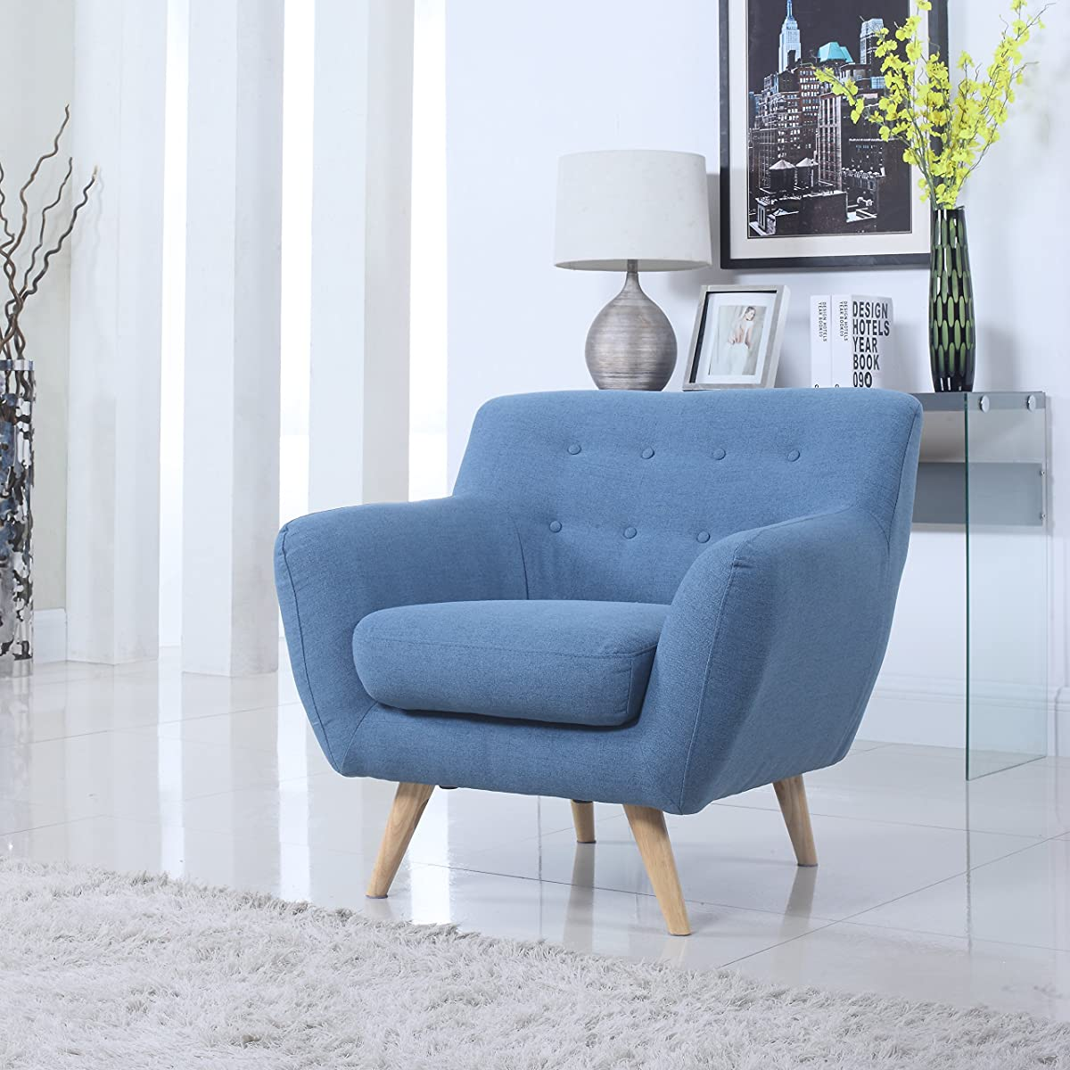 Mid Century Modern Tufted Button Living Room Accent Chair (Blue)