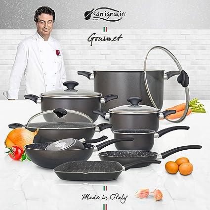 San Ignacio Set Big Size Batería de Cocina Gourmet, Aluminio prensado, Gris Oscuro, ...