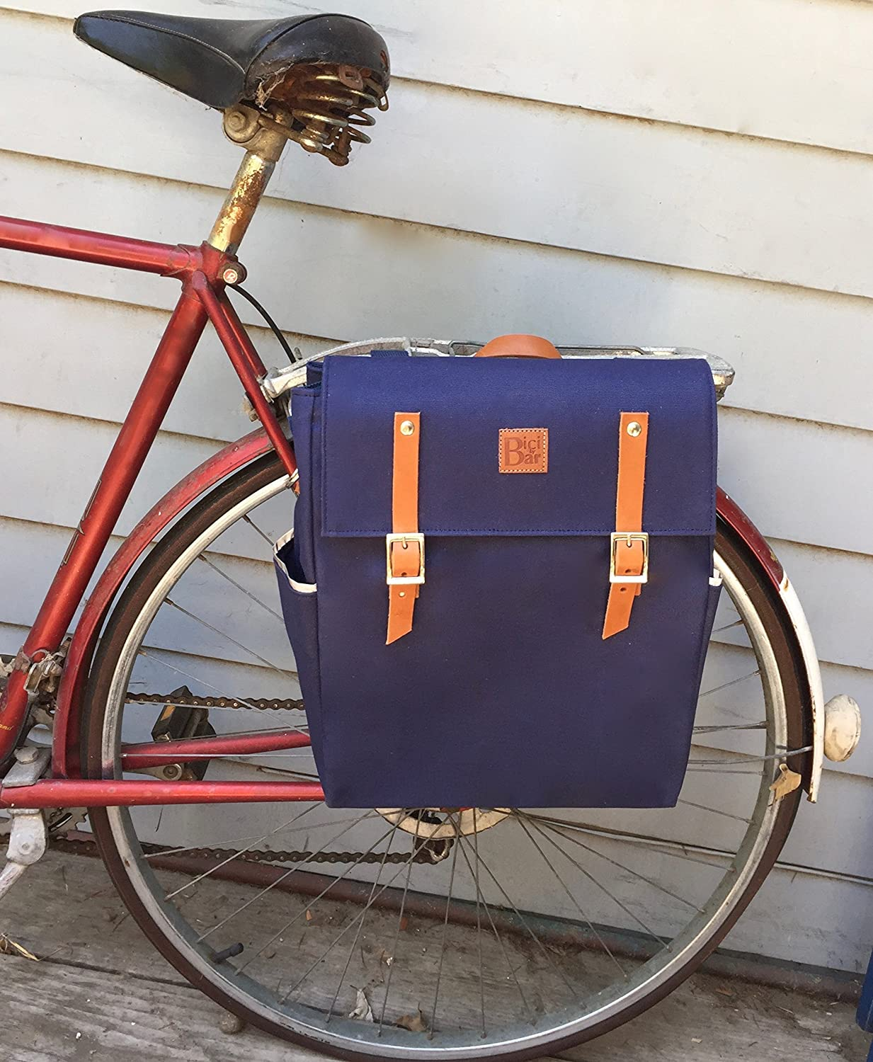 Bicycle pannier messenger in canvas and leather Blue Navy