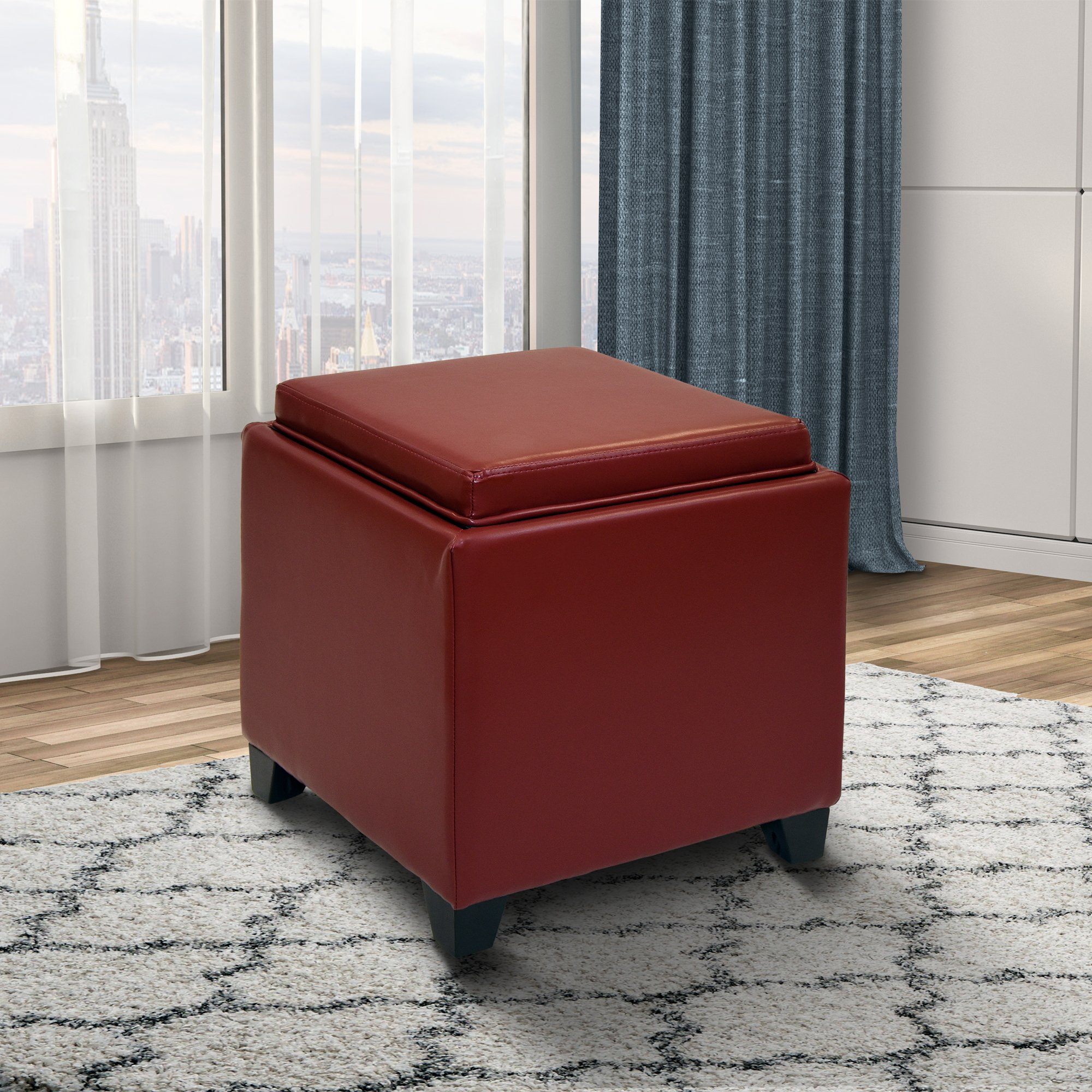 Armen Living LC530OTLERE Rainbow Ottoman in Red Bonded Leather and Black Wood Finish
