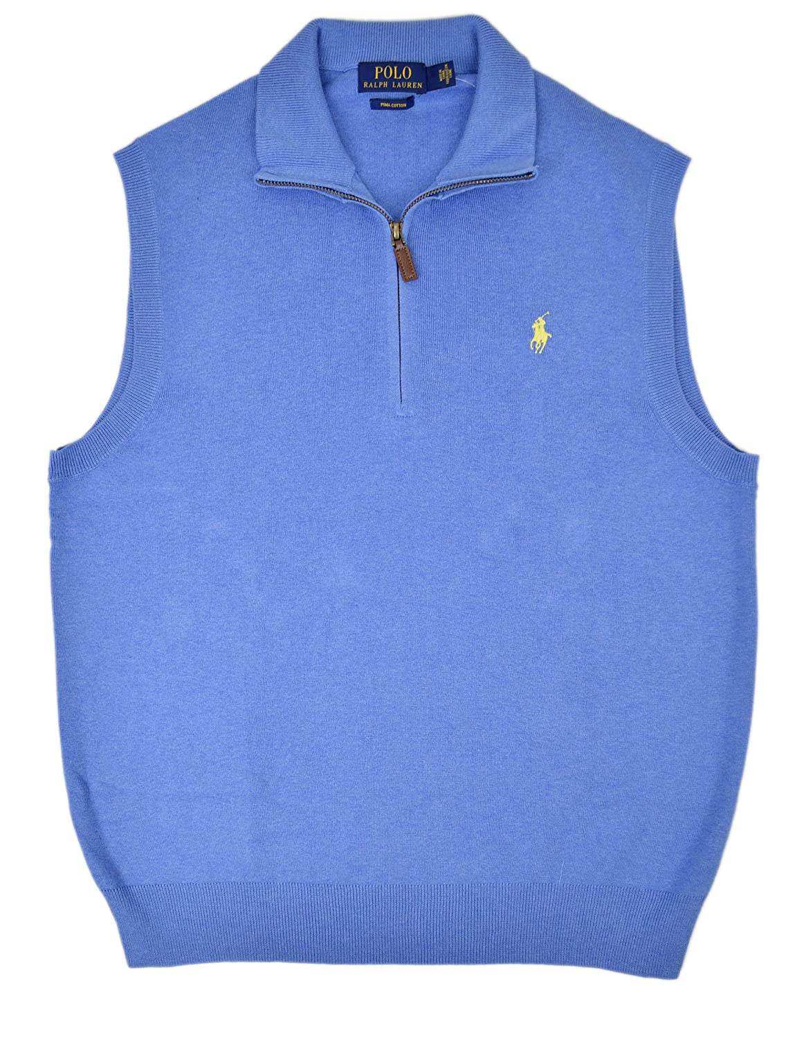 Polo Ralph Lauren Men's Pima Cotton Half Zip Sweater Vest Pale ...