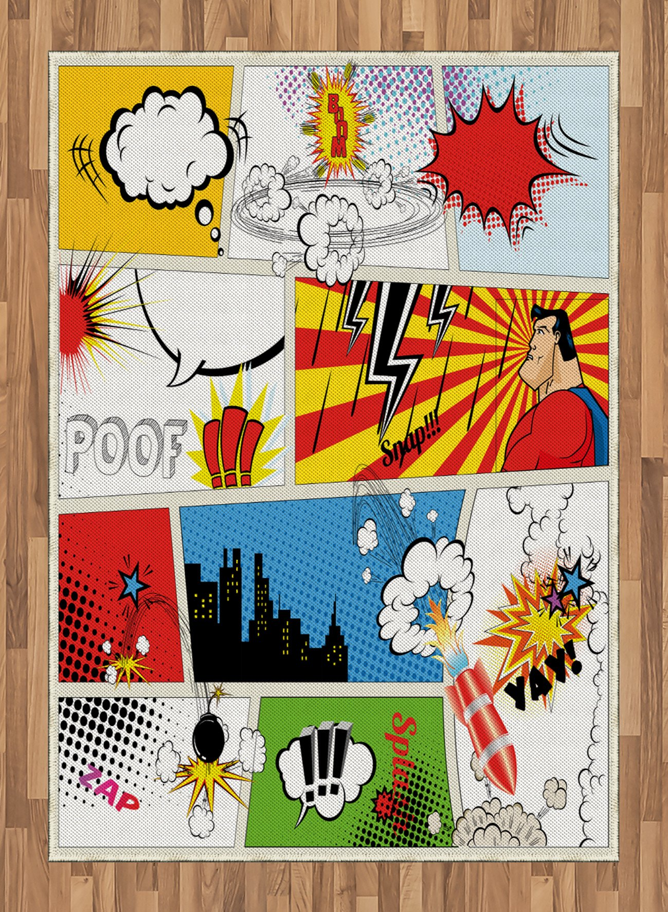 Superhero Area Rug by Lunarable, Comics Template Fiction Fantasy Retro Speech Bubbles Expressions Effects Print, Flat Woven Accent Rug for Living Room Bedroom Dining Room, 5.2 x 7.5 FT, Multicolor