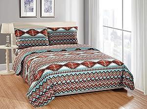 Rugs 4 Less Southwestern Turquoise Blue King Sheet Set in Native American Tribal Patterns - Utah King Turquoise Sheet