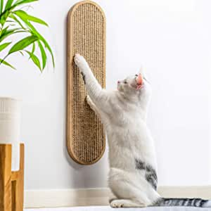 7 Ruby Road Cat Scratching Post for Floor or Wall Mounted Use - Space-Saving, Durable Sisal Board Scratcher for Kitty's Health and Good Behavior, Furniture Scratch Deterrent Accessories for Cats