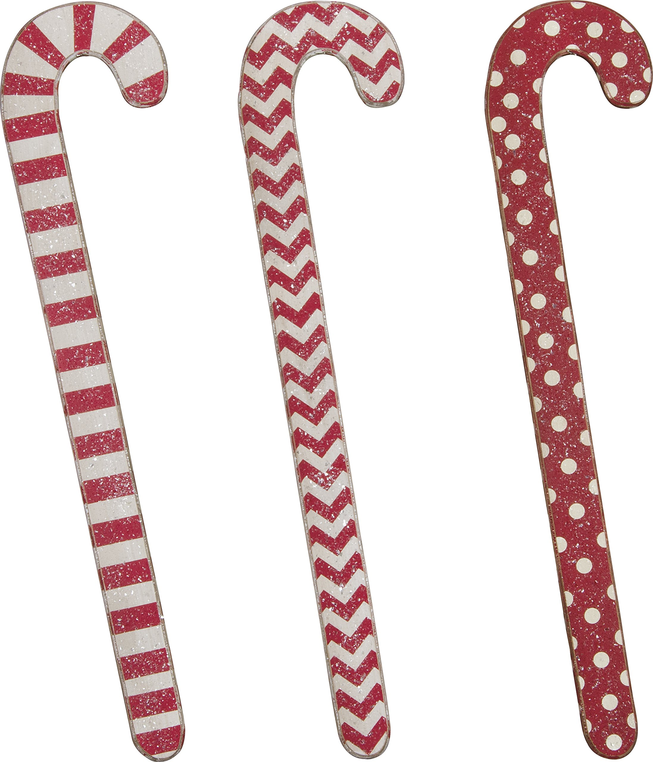 PBK Christmas Decor - Red White Jumbo Wood Candy Canes 3pc