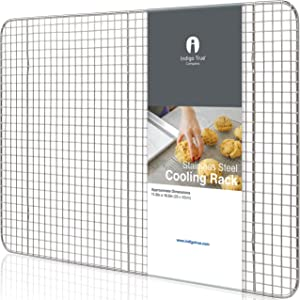 Stainless Steel Cooling Rack Half size - Commercial Grade Metal 11.5