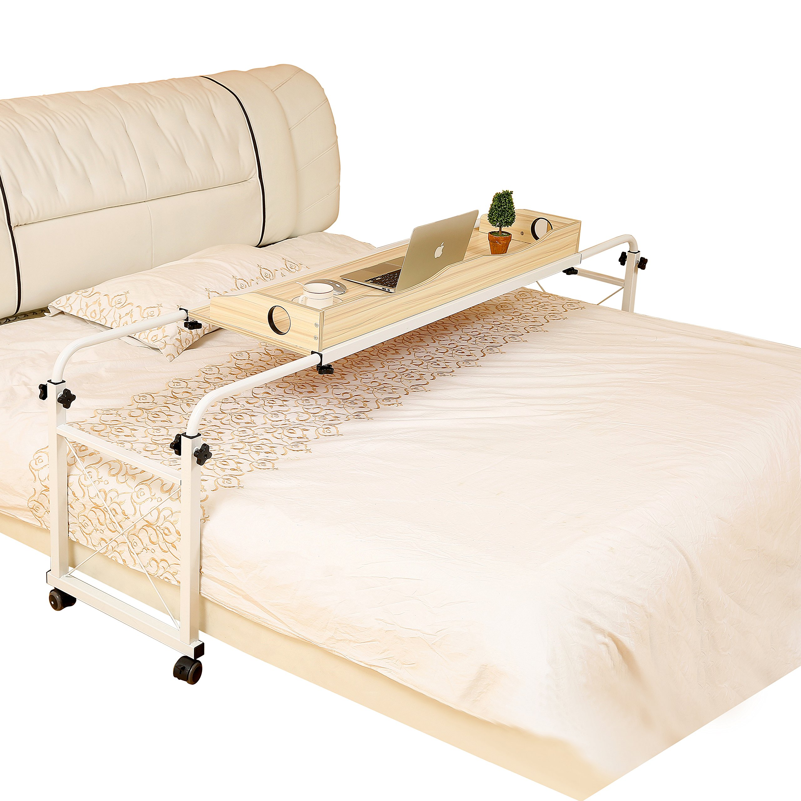 Dline - Overbed Table Laptop Cart Laptop Table, 1.4M Fit Mattress Size From Twin 3975'' to California King 7284'' , Light Grain