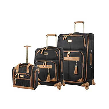 Steve Madden Luggage 3 Piece Softside Spinner Suitcase Set Collection (20 /28 /Under Seat Bag) (Harlo Black)