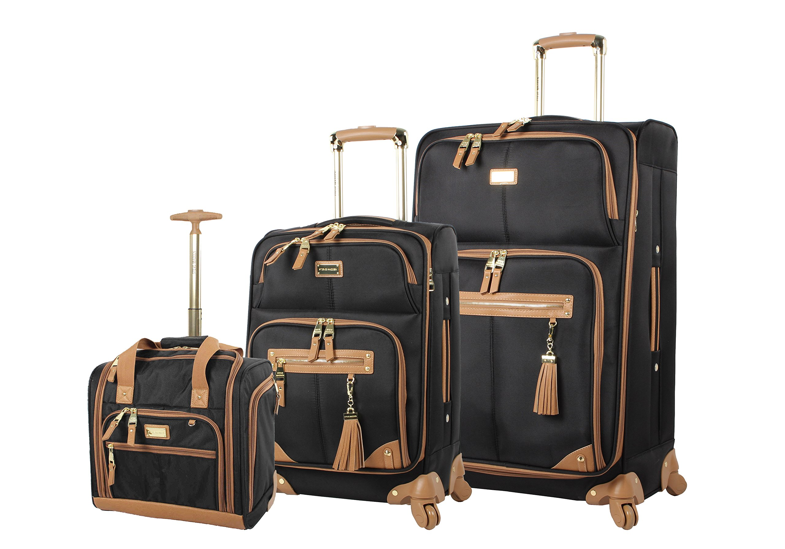 Steve Madden Luggage 3 Piece Softside Spinner Suitcase Set Collection (Harlo Black)
