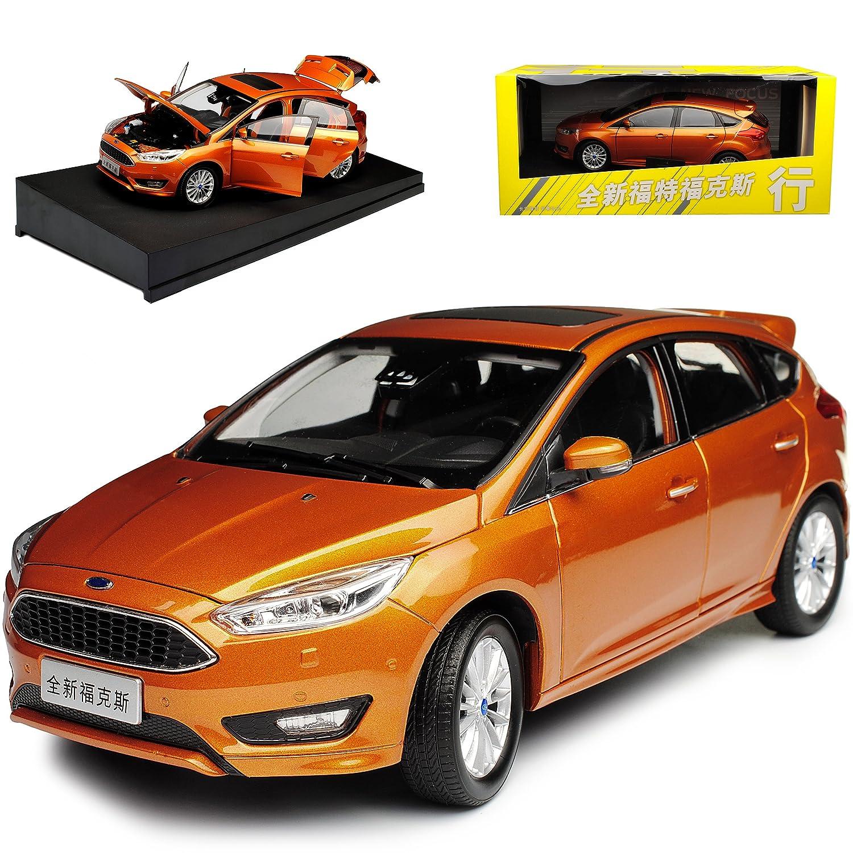 Paudi Ford Focus 5 Türer 3. Generation Orange Ab 2010 1/18 Modell Auto mit individiuellem Wunschkennzeichen