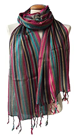 New Colourful Silky Scarf Ethnic Woven Fabric Wrap Shawl Head Neck From Nepal