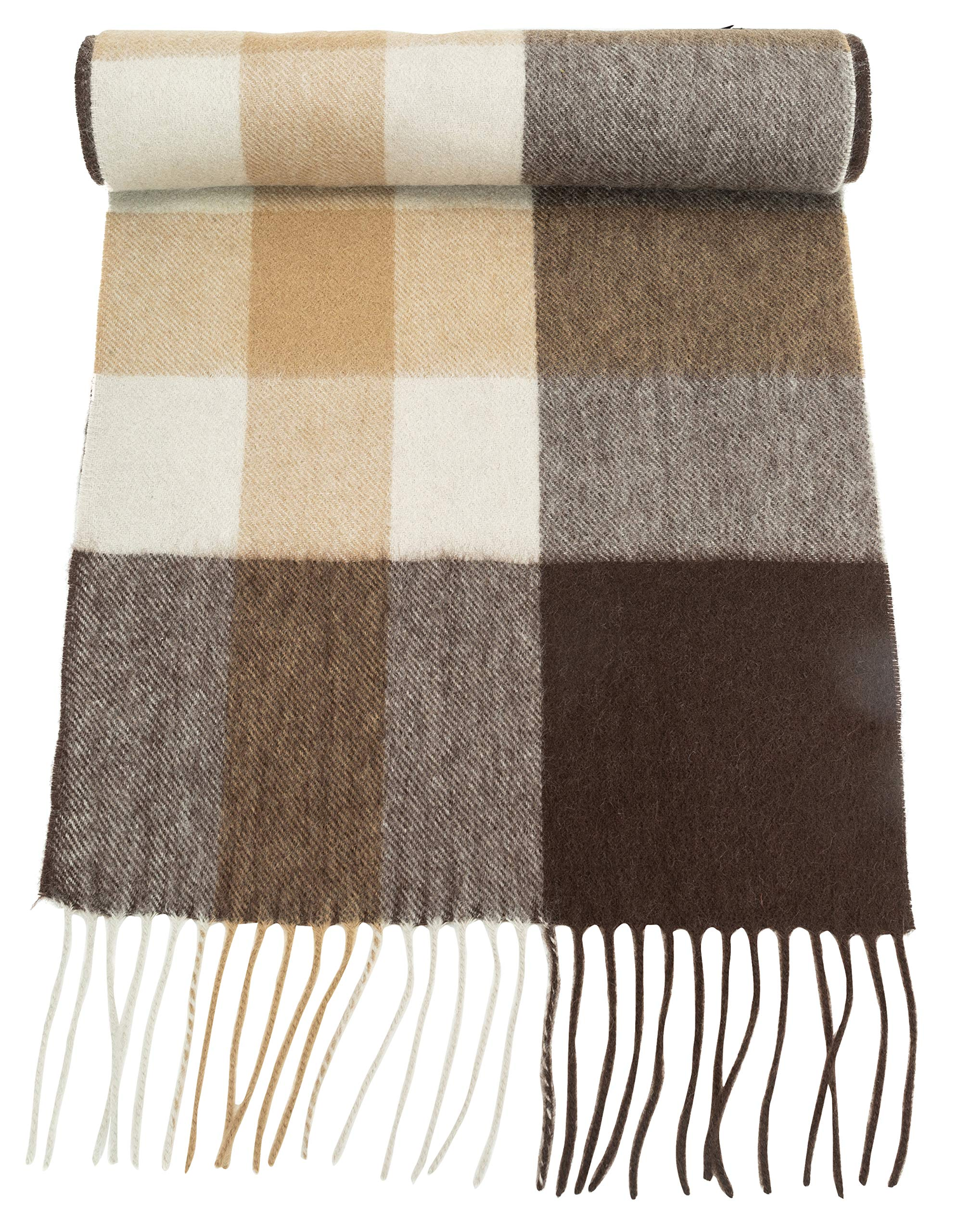 100% Pure Cashmere Scarf for Women, Solid Colors and Plaids, Unisex, Gift Box, Various Sizes, by Candor and Class (2018 Brown Boxes)
