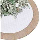 Lalent Christmas Tree Skirt - 48 inches Large White Quilted Luxury Tree Skirt, Tree Holiday Decorations for Christmas…