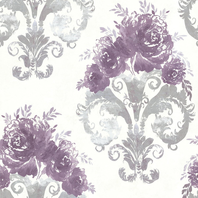Bhf 484 68066 Allana Purple Scrolling Floral Urn Wallpaper Amazon