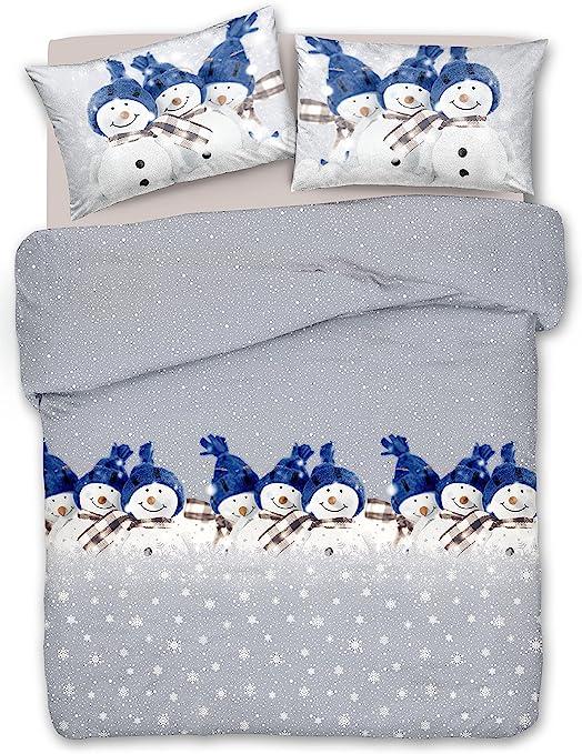 Copripiumino Neve.Copripiumino Cotone Natale Pupazzi Di Neve Blu Singolo Amazon